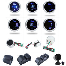 Boost Gauge/Water Temp/Oil Temp/Oil Press/Voltage/Tachometer Gauge 52mm Digital Blue led White Case+ 52MM Gauge Pod Holders