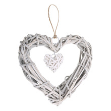 1pcs Chic Wicker Heart Wreath Artificial Wreaths Wedding Decoration Hanging for Home Wall Window Party Supplies