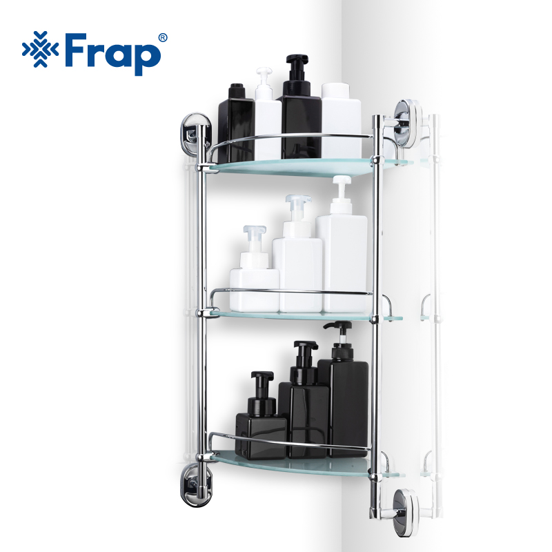 Frap Bathroom 3 layers Shelf Glass toilet Shelfs  wall mounted Bath Shampoo Basket Cup Holder Bathroom Accessories F1907-3