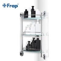 Frap Bathroom 3 layers Shelf Glass toilet Shelfs wall mounted Bath Shampoo Basket Cup Holder Bathroom Accessories F1907 3