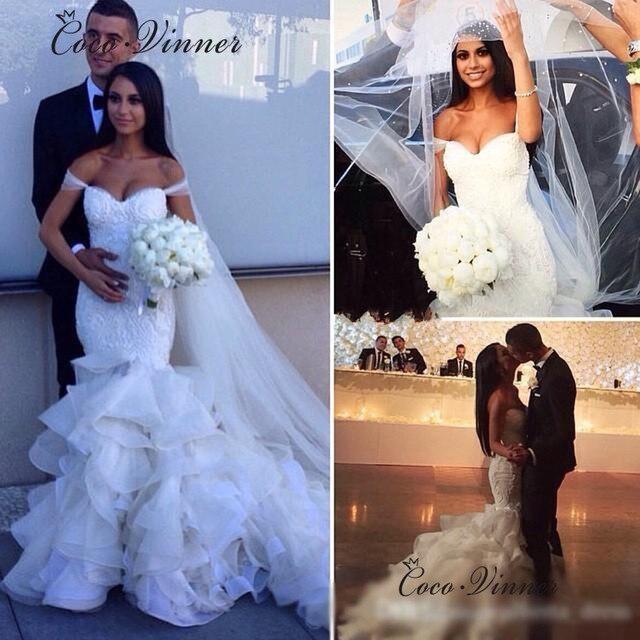 רקמת תחרה אפליקציות ראפלס בת ים חתונת שמלת 2019 פנינת חרוזים שווי שרוול לבן חתונה שמלת סין כלה שמלת W0322