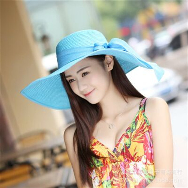 2016 Women Women s hat summer women brimmed hat beach big floppy sun hat  chapeau sexy new eb0eb342e2b
