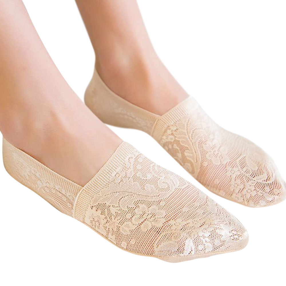 1 Pair Women Elastic Mesh Loafer Antiskid Invisible Socks Female Sheer Lace Summer Spring Non-Slip Ankle Boat Low Cut Short Sock ...