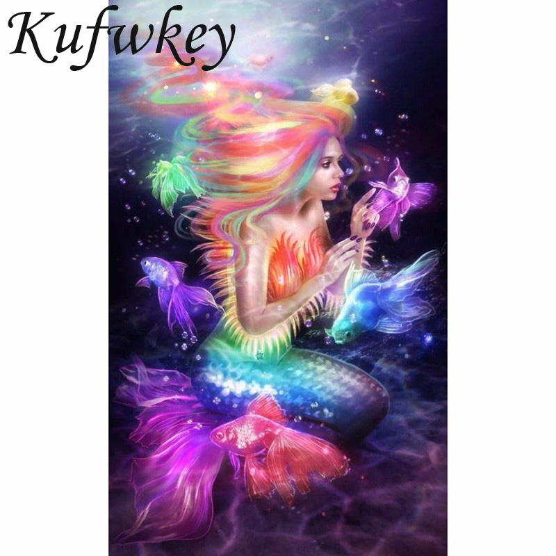 Diy Diamond Painting 3d Cross Stitch 5d Diamond Embroidery Beautiful Mermaid Princess Diamond Mosaic Painting girls gifts 30x45