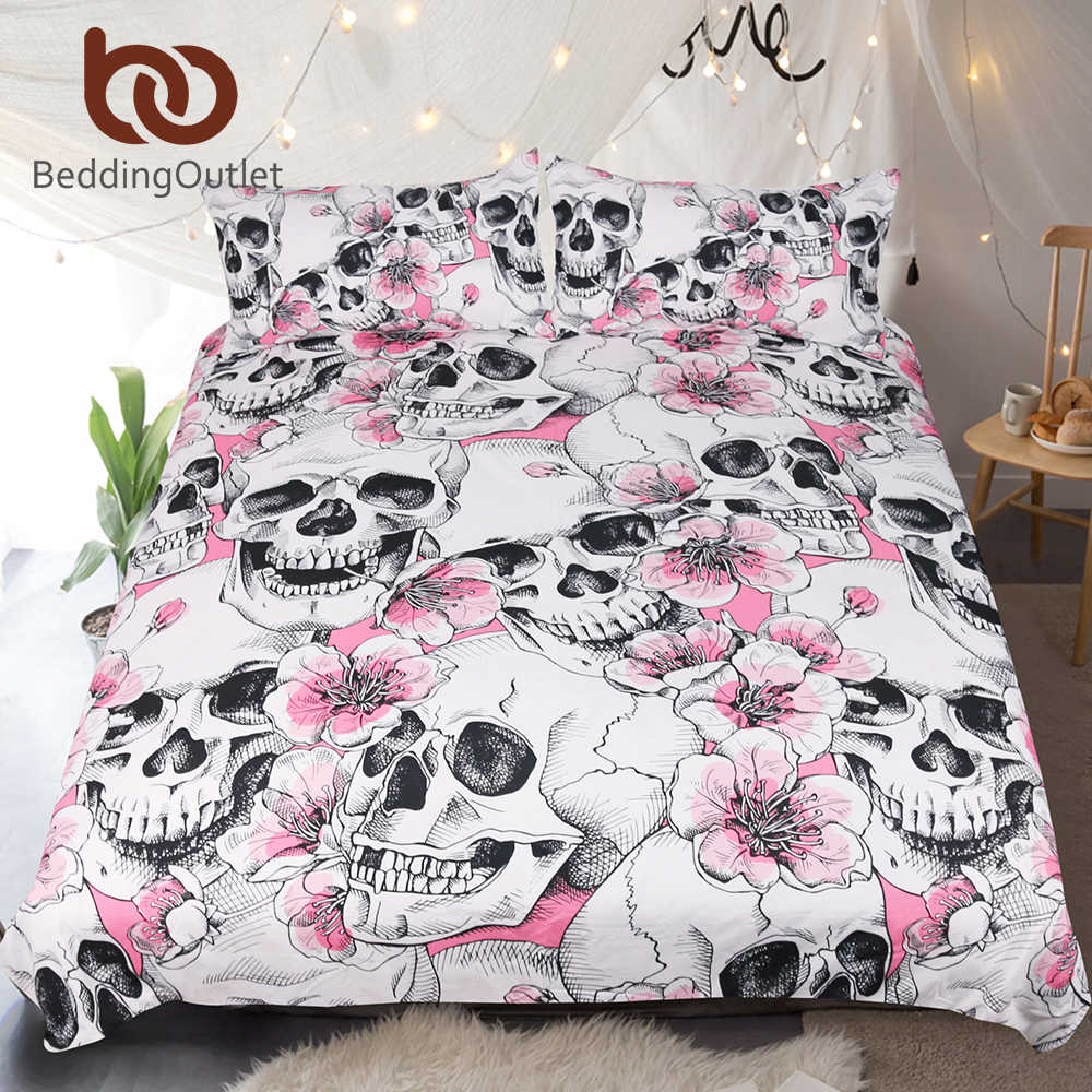 BeddingOutlet Sugar Skull Bedding Set Cherry Blossoms Duvet Cover Set Pink Floral 3-Piece Microfiber Gothic Bedspreads For Woman