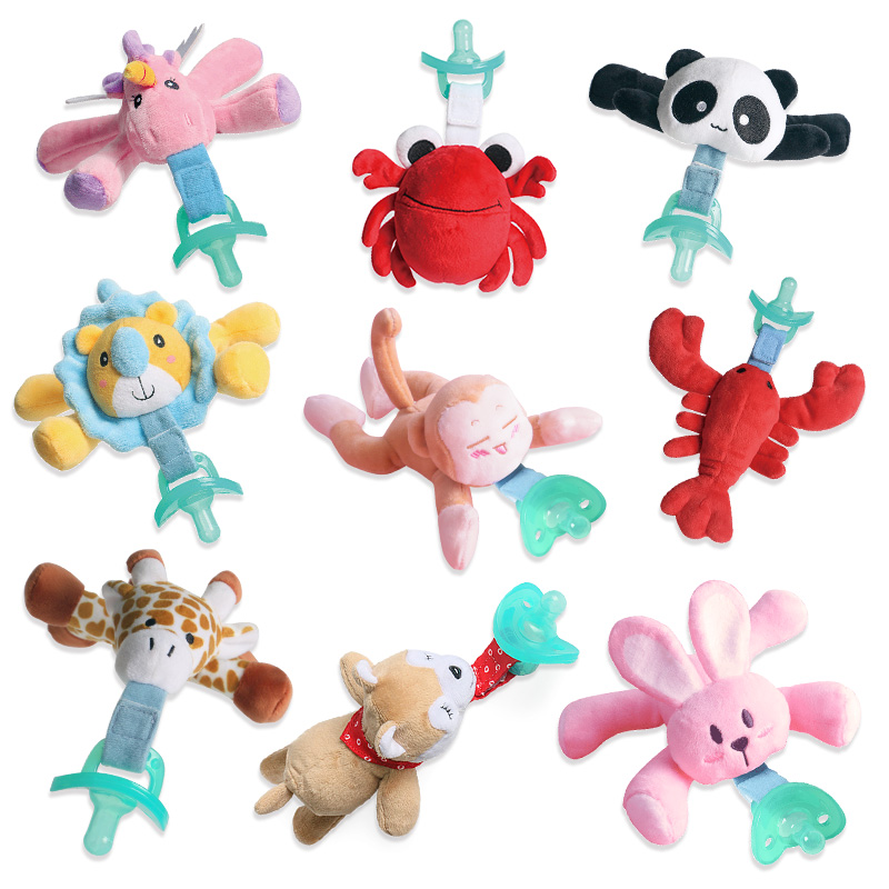 Baby Toys Pacifier Clips Velcro Pacifier Detachable Animal Plush Toy Boys Girls Cartoon Feeding Accessories(  Include Pacifier )