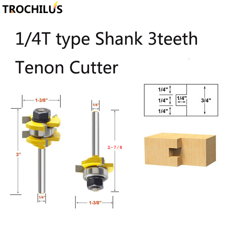 Carbide 1/4T Type Shank 3teeth Tenon wood cutter cnc router bits Set Woodworking tools end milling cutters 2PCS 1pc 1 2 3 4 woodworking cutter cnc engraving tools cutting the wood bits