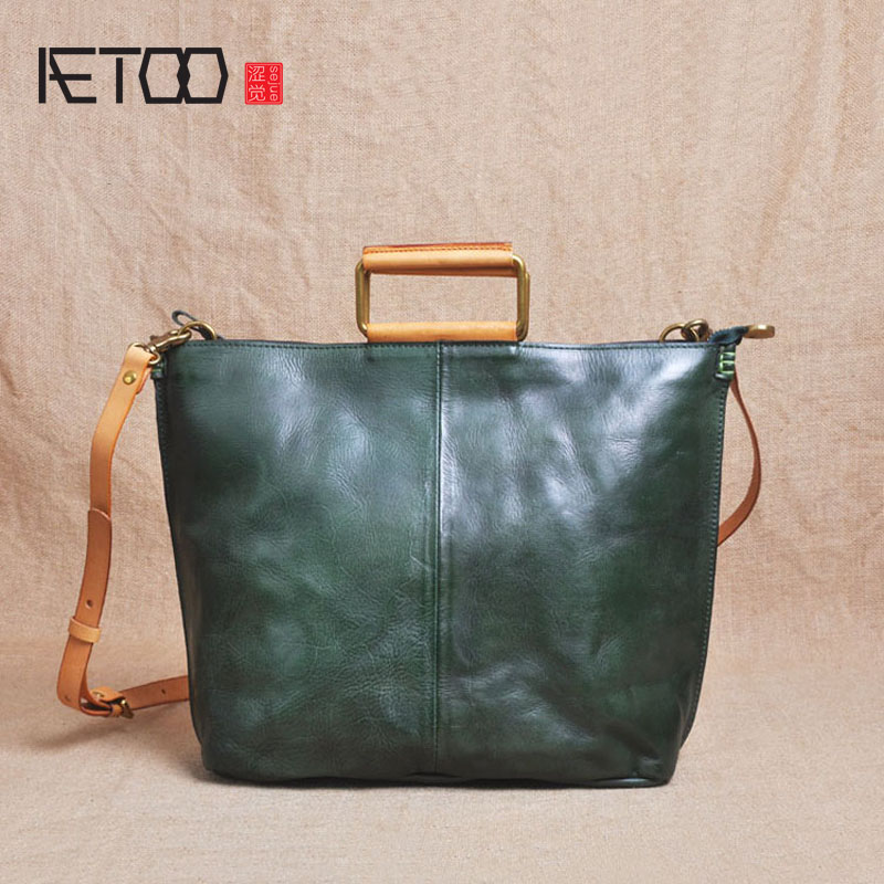 AETOO Zipper Korean version of the first layer of leather hand-made A4 female package tannage retro folds wild shoulder Messenge aetoo first layer of leather shoulder bag female bag korean version of the school wind simple wild casual elephant pattern durab