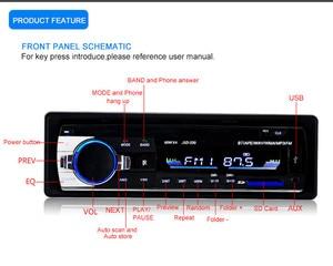 Image 3 - Radio de coche, reproductor de MP3 Digital para coche, receptor estéreo con Bluetooth incorporado, llamadas manos libres, 1 din, entrada de tarjeta SD auxiliar USB