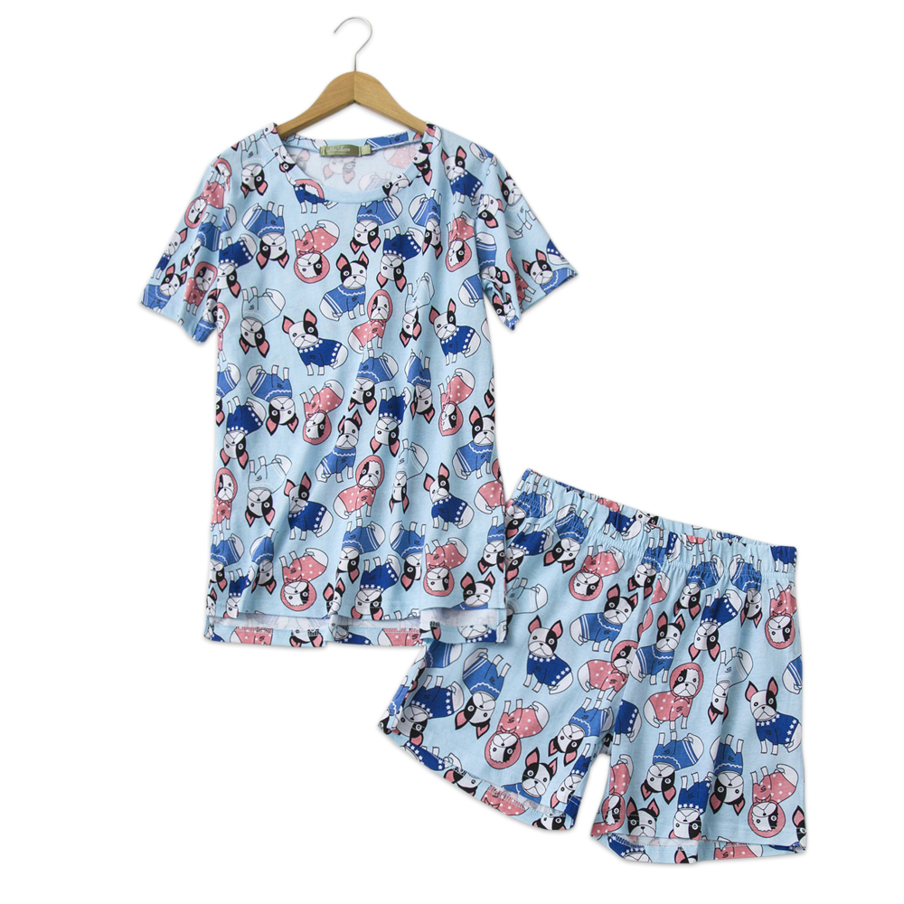 Cute short dogs   pajamas     sets   women Short sleeves 100% cotton casual kawaii pyjamas summer women shorts sleepwear 2 piece