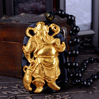 Wholesale Gold Natural Black Obsidian Carving Buddha Guangong Lucky Amulet Pendant For Women Men pendants Gift Jewelry