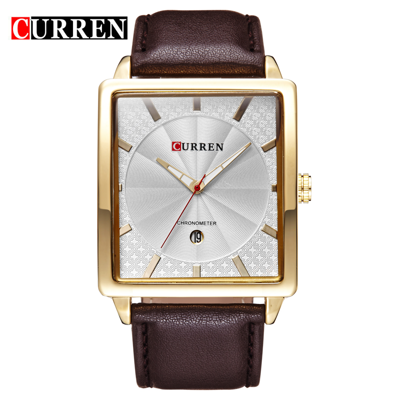 2016 New CURREN Top Brand Luxury Leather Strap Calendar Men Quartz Watch Casual Sport Male Watches