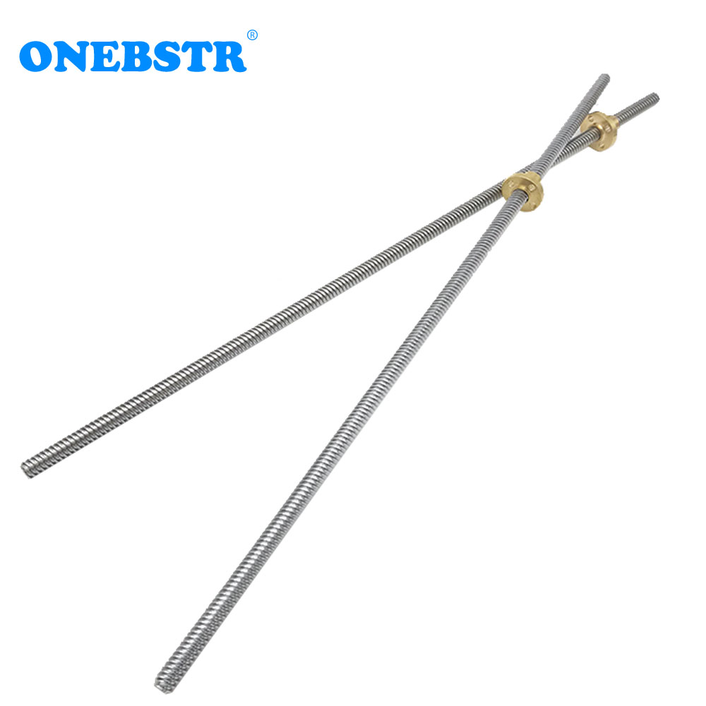RepRap T8-2-8D Lead Screw Length 400mm Stainless Steel Dia 8mm Pitch 2mm Lead 8mm  3D Printer Parts Free Shipping