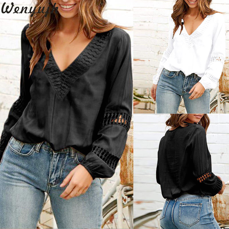 Wenyujh 2019 Women's Deep V Neck Long Sleeve Solid   Shirts   Female Spring Autumn Loose Top Sexy Hollow Out Lantern Sleeve   Blouse