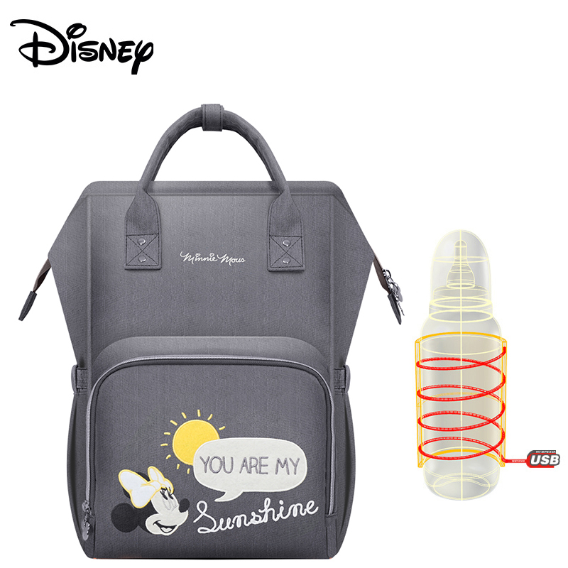 Disney 2018Upgraded version Thermal Insulation Bag High-capacity Baby Feeding Bottle Bags Diaper Bags Oxford USB Insulation Bags
