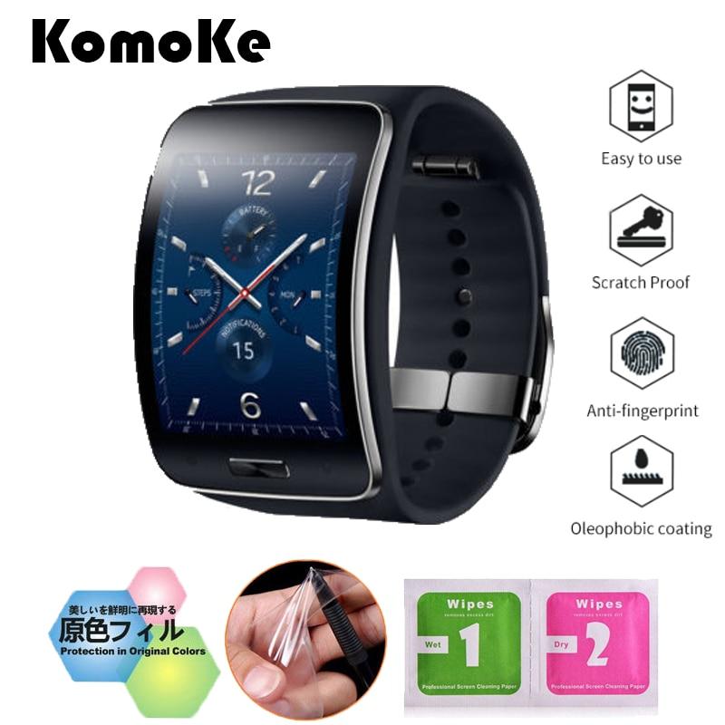 все цены на 4Pcs/Lot(2Films+2Wipes) For Smart Watch Samsung Galaxy Gear S SM-R750 Soft TPU Ultra HD Clear LCD Screen Protective Film Guard онлайн