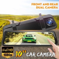 1080P HD 10 Inch Car Camera Dual Lens Touch Screen Rear View Car Mirror Camera Super Night Vision Car DVR Car reverse image