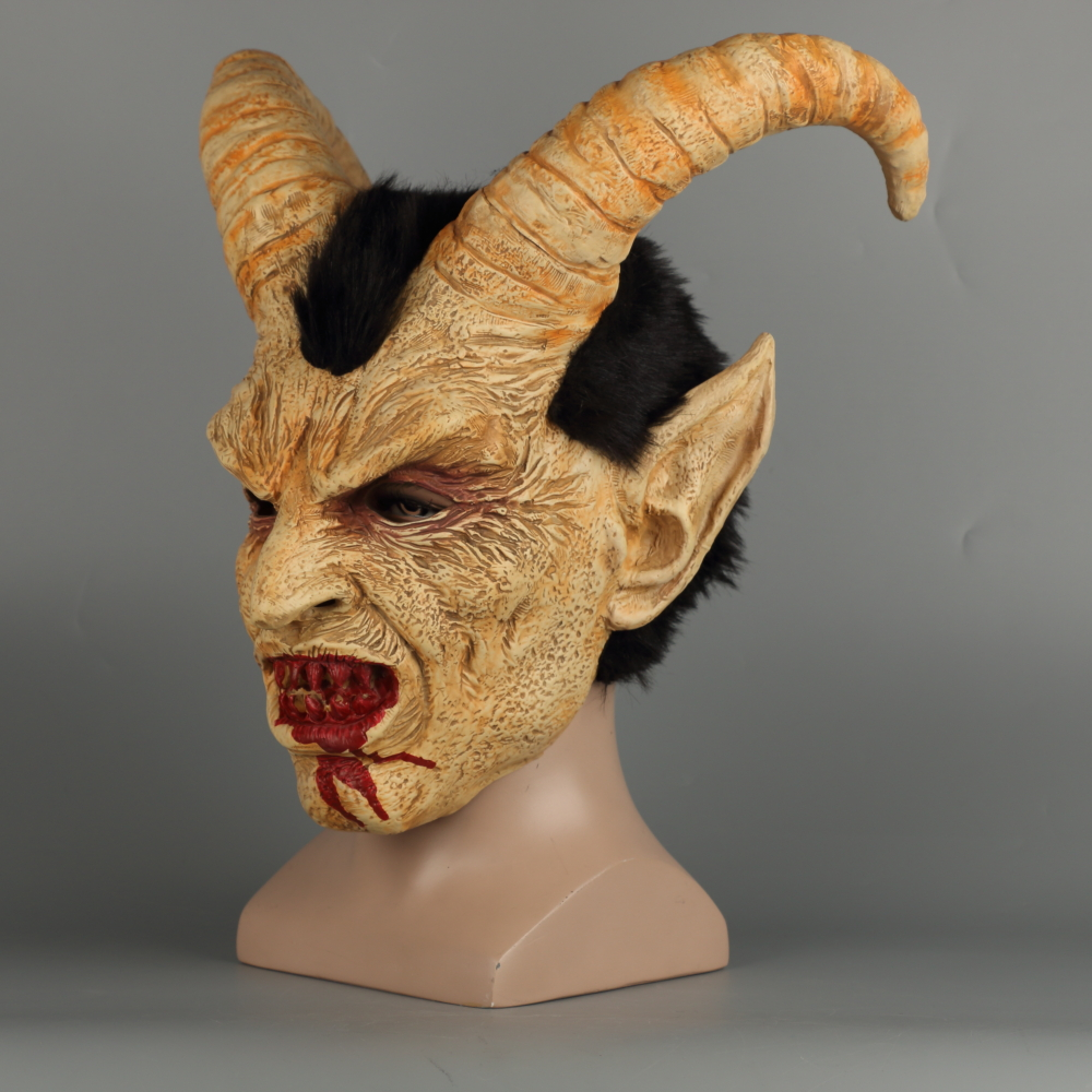 Scary mask demon devil Lucifer Horn latex Masks Halloween movie cosplay decoration Festival Party Supply props Adults Horrible (31)