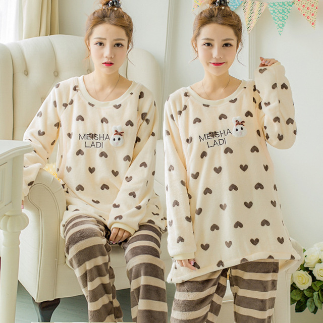 Lovely Printing Maternity Sleepwear Winter Thickening Flannel Maternity Clothes Breast Feeding Clothes Nursing Pajamas