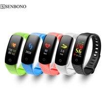 Senbono pulseira inteligente tela colorida pressão arterial dispositivo rastreador de fitness monitor de freqüência cardíaca banda esporte mi banda