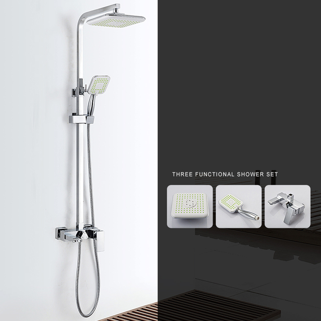 "Modern Square 8"" Rain Shower Head Top Over-head Shower Sprayer Dual Function Shower ABS Electroplate High Power Shower Head Set"