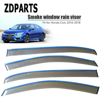 ZDPARTS 4Pcs/Set For 10th Honda Civic 2017 2018 2016 Car Wind Deflector Sun Guard Rain Wind Vent Visor Cover Trim Accessories