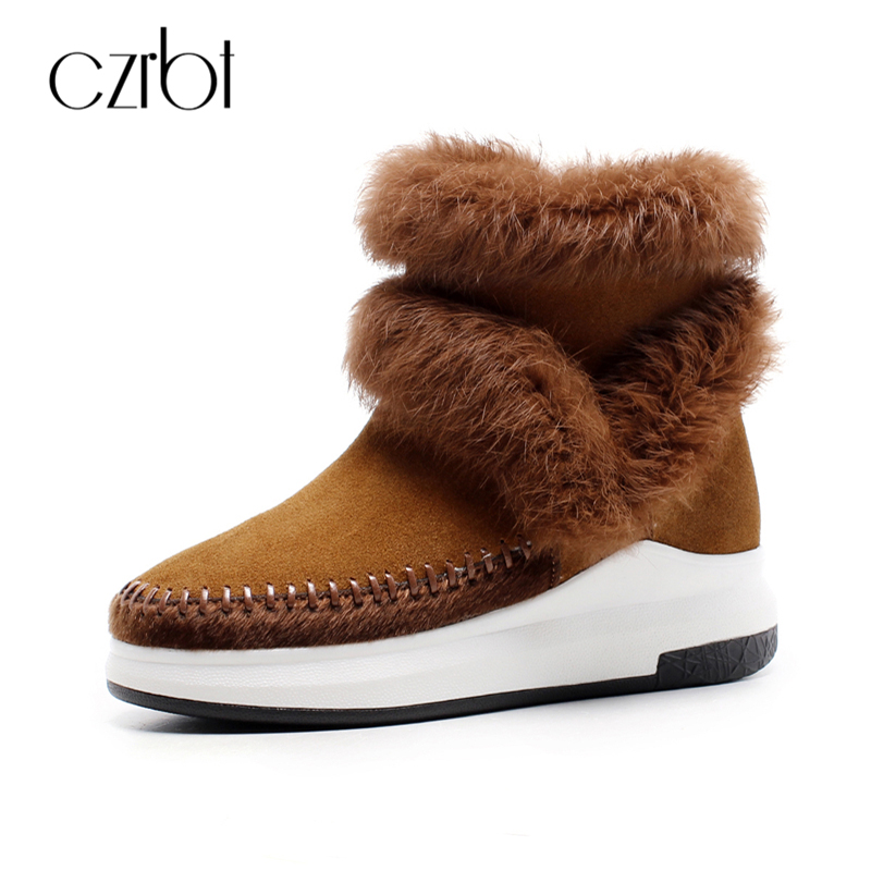 CZRBT High Qulity Women Boots 100% Real Fur Classic Mujer Botas Genuine Cowhide Leather Snow Boots Winter Warm Anke Boots Woman aiweiyi womens high quality genuine leather real fur 100