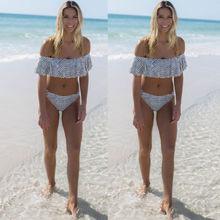 Women Swimsuit Striped High Waist Sexy Ruffle Off Shoulder