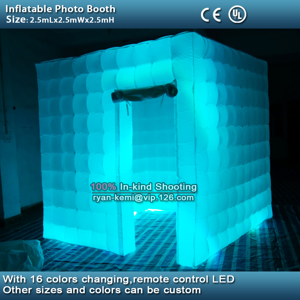 Free shipping 2.5m 8.2ft inflatable photo booth LED lighting portable inflatable photo tent enclosure cube tent with blower  free shipping 3x3x2 4m inflatable photo booth cube inflatable photo booth led inflatable photo booth for sale