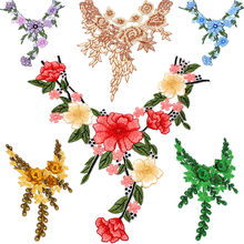 Multicolor Flower Neckline Collar Decorate Sewing Accessories Embroidery Dress Motif Blouse Lace Fabric Applique Sewing Supplies недорого