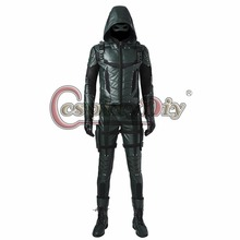 New Arrival Green Arrow Season 5 Oliver Queen Cosplay Costume Men Outfit For Halloween Party Custom Made With Shoes J10