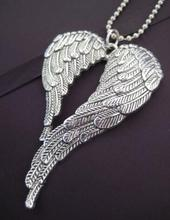 Double Angel Wing Necklace Pendant Vintage Silver Charms Ball Chain Leather Collar Choker Necklace Jewelry Women DIY Gifts B340