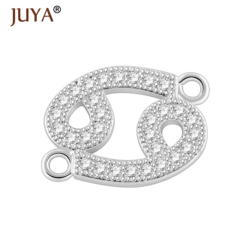 12 Zodiac Constellation Signs Silver Color Micro Inlay CZ Rhinestone Connectors For Jewelry Making Handmade DIY Accessories