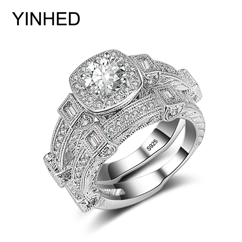 YINHED Luxury Brand Wedding Rings Set 1 Carat Zircon CZ Engagement Ring for Women 925 Sterling