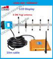 LCD Display GSM 900Mhz Cell Phone Signal Booster , FDD GSM980 Signal Repeater  Booster Amplifier  + Yagi Antenna with 10m Cable