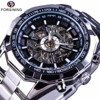 Forsining 2017 Silver Stainless Steel Waterproof Mens Skeleton Watches Top Brand Luxury Transparent Mechanical Male Wrist
