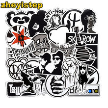 50 Pcs Black and White Rock Music Graffiti Punk Cool Skateboard Car Luggage Guitar Suitcase Waterproof PVC Boy Girl Toy Stickers(China)