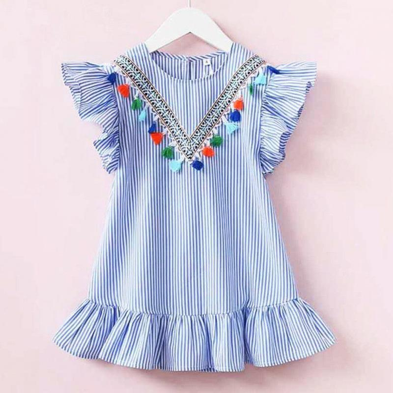 Toddler Baby Girls Kids Summer Dresses Striped Ruffle Sleeve Tassel Collar Falbala Casual Mini Princess Dress striped ruffle hem cami top dress