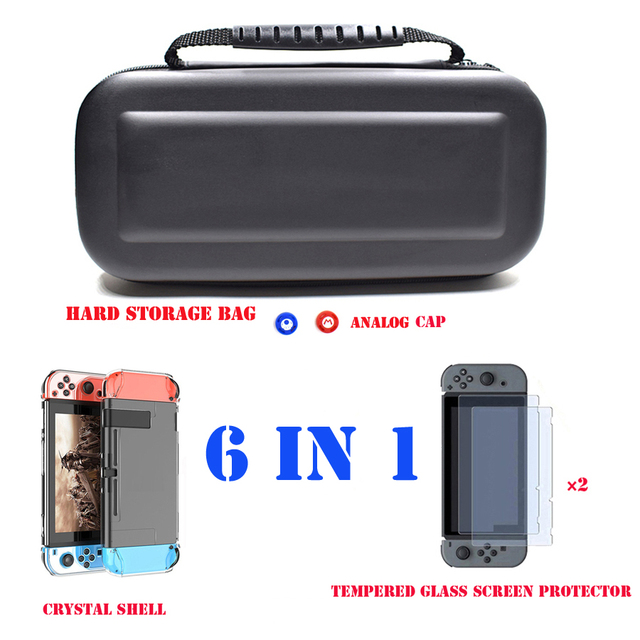 6 in 1 Kit Carrying Bag Storage Box Hard Case for Nintend Switch Console NS&Glass Screen Protector&Crystal Shell&2 Analog Caps