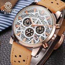 OCHSTIN יוקרה מותג 2019 עבור גברים ייחודי שלד ספורט שעון שעון יד קוורץ זכר Bussiness יד שעונים מתנות מקורי