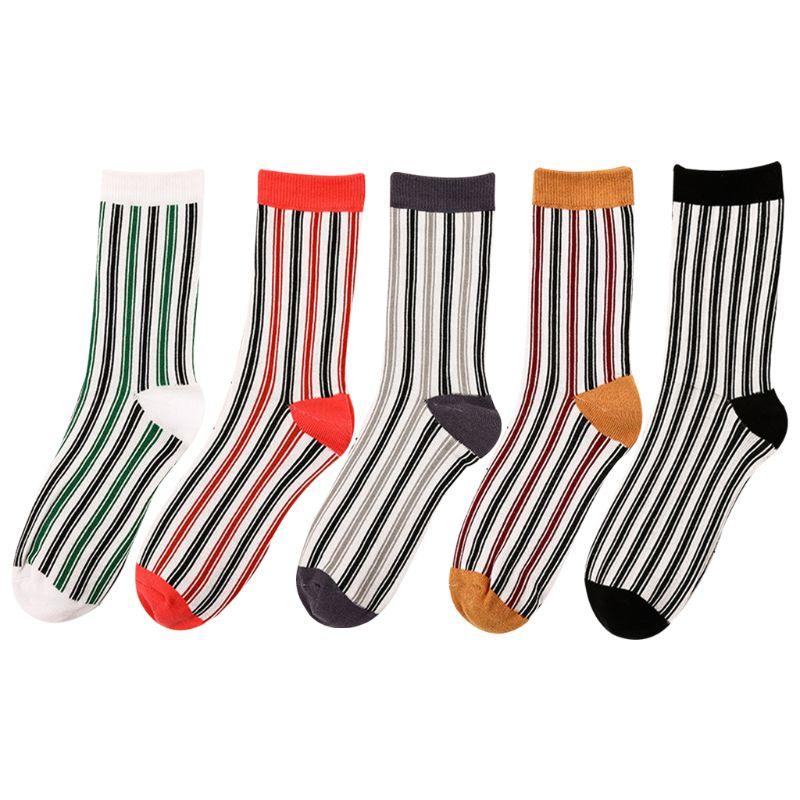 Women Girls Harajuku Combed Cotton Long Ankle Socks Contrast Color Vertical Stripes Printed Hip-Hop Tube Socks Casual
