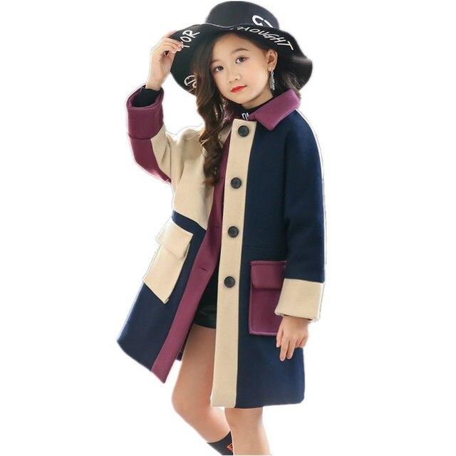 חורף בנות מעיל מעיל רוח תינוק פעוט מעיל Teen מעיל בנות מעילי ילדי הלבשה עליונה בנות צמר מעיל ילדים בגדים