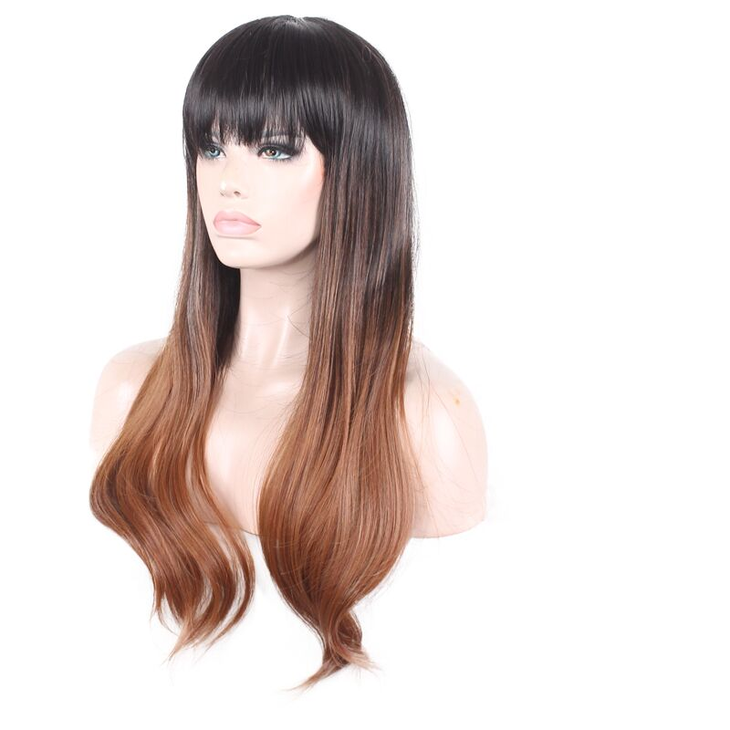Synthetic None-lacewigs Synthetic Wigs Real Picture Woodfestival Cosplay Hair Wig Black Brown Long Straight Wig Bangs Synthetic Wigs Women Heat Resistant