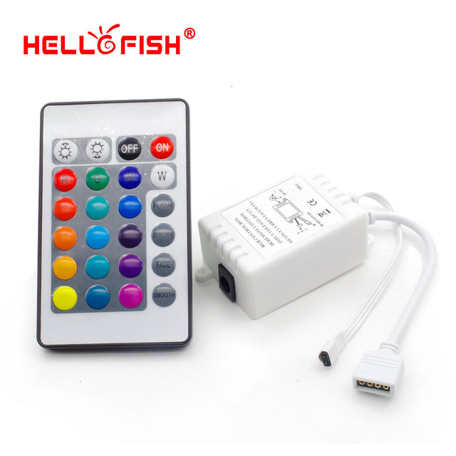 Hello Fish Dream color LED strip controller,  24 keys IR Remote Controller for RGB strip, Free shipping