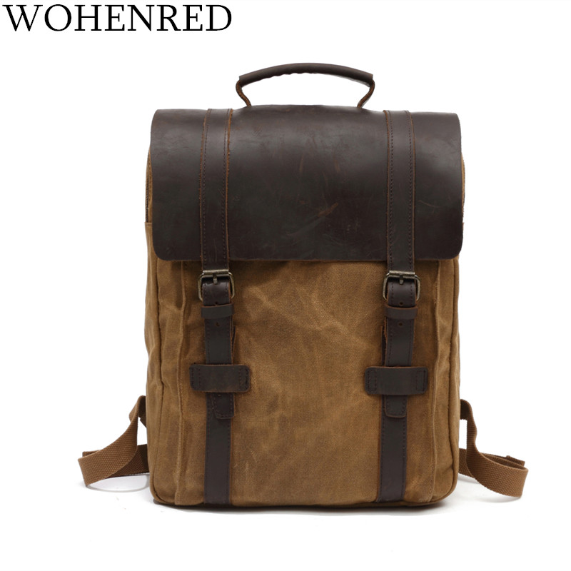 Men's Backpacks Leather Canvas School Bag Vintage Military Waterproof Travel Bags High Quality Big Capacity Male Laptop Backpack zebella travel high quality pu leather men backpack big capacity waterproof functional male backpacks school teenager men bags