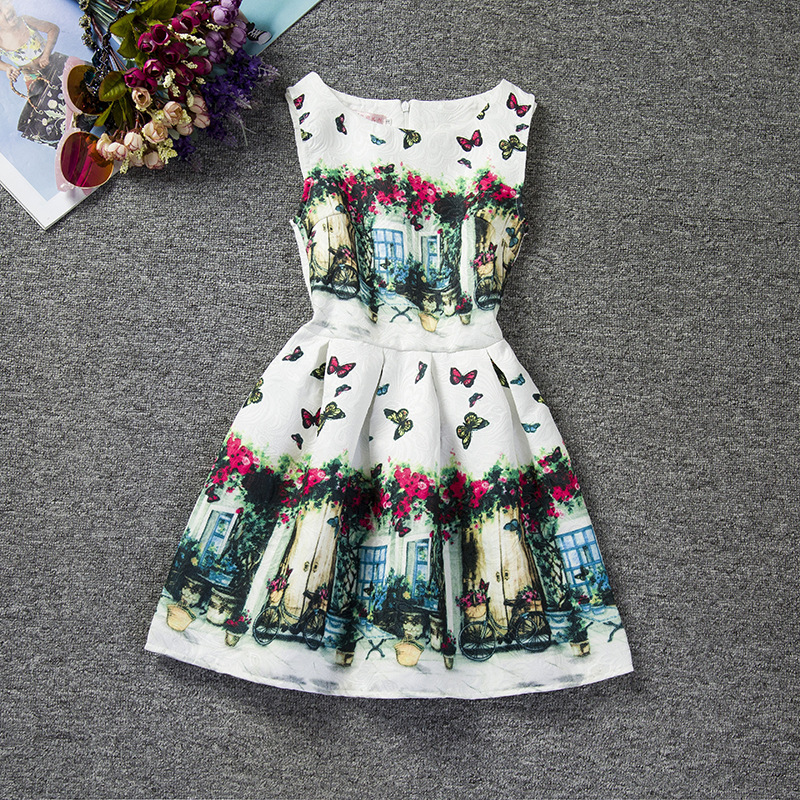 U-SWEAR 2019 New Arrival   Flower     Girl     Dresses   Sleeveless O-neck Flora Butterfly Print A-line   Dress   Pageant   Dresses   For   Girls