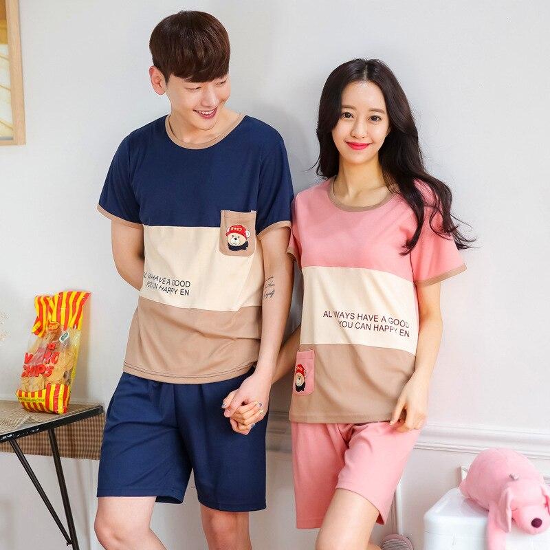 Couples Short sleeve suit   pajamas   Women Summer cartoon   pajamas     Sets   home Wear shorts Men tracksuit Pyjamas Suits S2046