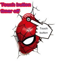 touch button Marvel Spider Man Homecoming Mini 3D Deco illusion night lamp table desk lamp for Home Decoration