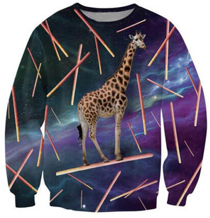 Pocky Glider Crewneck Sweatshirt giraffe eating Japanese snack candy galaxy Space 3d Pull Sweats Women Men Hoodies Tops Jumper