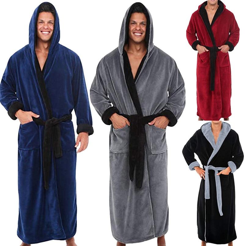 Fashion Casual Men's Couple Winter Lengthened Plush Shawl Kimono Warm  Male Bathrobe Home Clothes Long Sleeve Hooded  Robe Coat